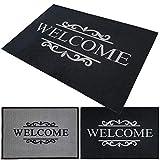 PROHEIM Felpudo Welcome 40 x 60 cm - Alfombra para puerta de entrada original con motivo Welcome - Material duradero y robusto (algodón y caucho), Color Antracita