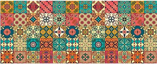 matches21 Teppichläufer Küchenläufer Teppich Läufer Marokko Retro Mosaik bunt Mix Velours & Latex waschbar 60x150 cm