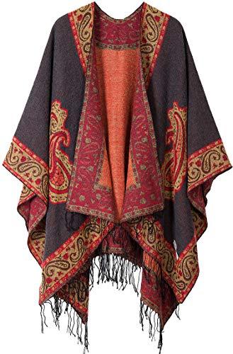DiaryLook Damska chusta z nadrukiem modna otwarta peleryna ponczo z przodu