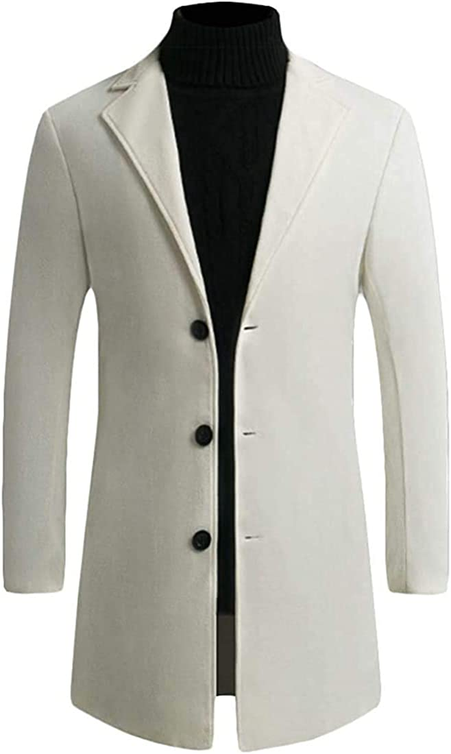 Men's Slim Casual Outdoor Woolen Single Breasted Long Trench Coat