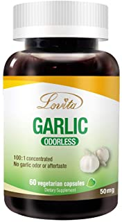 Lovita Odorless Garlic 5000mg, Maximum Strength with 1.25% Allicin, Powerful Immune and Cardiovascular System Support Form...
