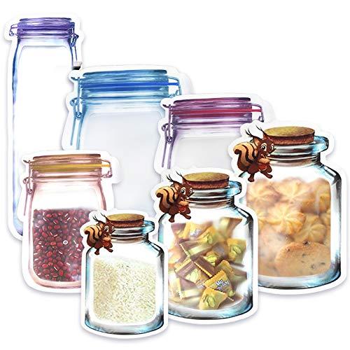 Yisscen Mason Jar Zip Beutel Wiederverwendbare Seal Auslaufsicher Food Storage Taschen Benutzt für Snack Sandwich Lebensmittel Frische Backen von Keksen Süßigkeiten Ziplock Beutel 22Pcs