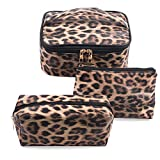 3 Pack Leopard Makeup Bag Travel Toiletry Bag Portable Cosmetic Pouch Organizer with Small Brush Holders Gold Zipper Waterproof Storage Case for Women and Girls
