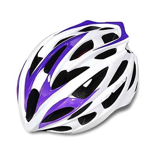 Pkfinrd Mountainbike-Reithelm Erwachsener Mountainbike-Helm Fahrradhelm Verstellbarer Komfort Sicherheit Fahrradhelm Outdoor-Sport Radfahren@Weiß lila_Eine Größe