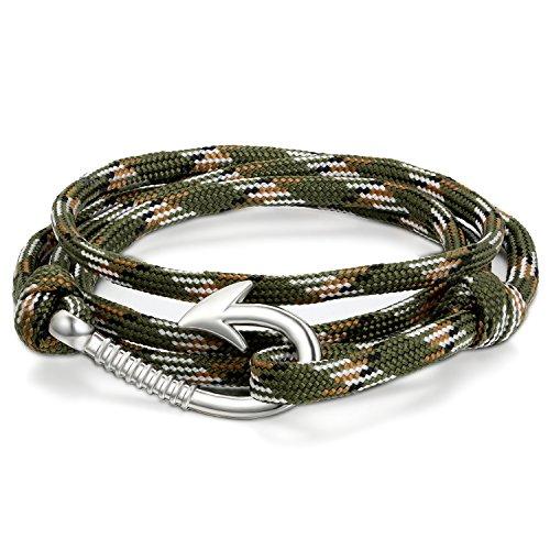 JewelryWe Schmuck Herren Damen Armband Retro Geflochten Angelhaken Haken Armreif Nylonseil Legierung Armmegrün