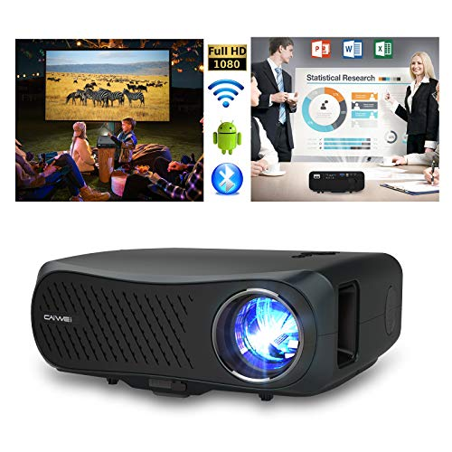 5G WiFi Projector with Bluetooth, 7200 Lumen Native 1080P Full HD Projector Support 4K, Synchronize Smartphone Screen, Home Movie HDMI Projector with Laptop, TV Stick, PS4 for Outdoor Presentation PPT