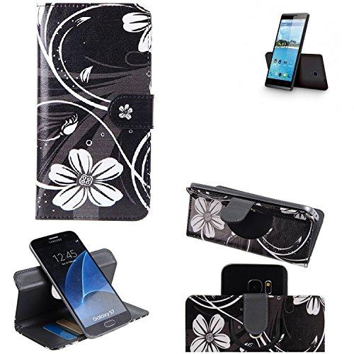 K-S-Trade® Schutzhülle Für Hisense Sero 5 Hülle 360° Wallet Case Schutz Hülle ''Flowers'' Smartphone Flip Cover Flipstyle Tasche Handyhülle Schwarz-weiß 1x