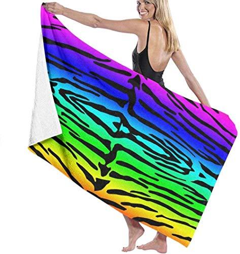 Toalla De Playa Toallas Baño,Patrón De Tigre Colorido del Arco Iris, Impresión En 3D, Toallas De Viaje Absorbentes Suaves Y Ligeras, Paño De Baño Deportivo para Nadar, Piscina, Yoga 80X130Cm