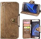 LENSUN Echtleder Hülle für Samsung Galaxy S7, Lederhülle mit Magnetverschluss Echtes Leder Handyhülle Handytasche kompatibel mit Galaxy S7 (5,1 Zoll) - Kaffeebraun (S7-GT-CE)