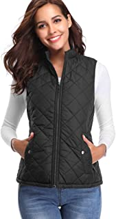 fuinloth Women's Padded Vest, Stand Collar Lightweight Zip Quilted Gilet