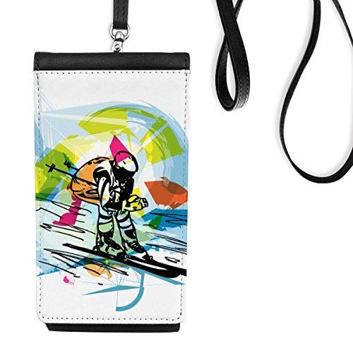 Winter Sport synchronisé Sports de Ski Freestyle Ski Aquarelle Sketch Illustration Simili Cuir Smartphone à Suspendre Purse Noir Phone Wallet