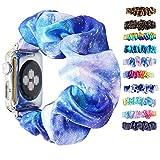 Scrunchie Elastic Watchband for Apple Watch Band Series 6 5 4 3, Watch Band for iwatch 38mm 40mm 42mm 44mm Strap Bracelet (Blue tie dye 66, 38mm/40mm)