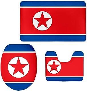 DIY Bath Mat Sets Juego de 3 Alfombrillas de baño Antideslizantes para decoración de baño, tapete para Inodoro + Alfombrilla de baño, North Korea Flag