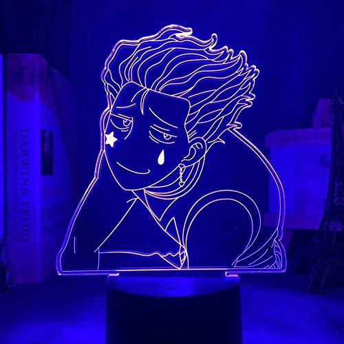3D LED Luz de noche - Cazador de anime x cazador,7 colores Cambio control remoto 3D Ilusión óptica Lámpara,3D illusion lamp Adecuado para regalos navideños para niños y niñas