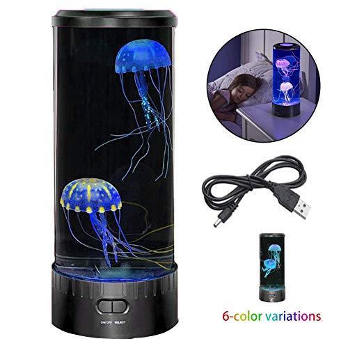 YLAN Medusas Lámpara de Escritorio con 6 Ajustes de Color LED Luz de Noche con 2 Artificial Medusas Carga USB Aquarium Jellyfish Lamp