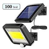 Luz Solar Exterior con Sensor de Movimiento, EJNOY 100 LED Focos Solares Exterior 120 ° súper brillantes, IP65 Impermeable, 3 modos con cable de 16.5 pies, Luces Solares Led Exterior Jardin Blancas