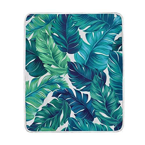 Manta suave y cálida con hojas de bosque tropical, de terciopelo, ligera, de microfibra, para cama, sofá, silla, viajes, camping, 152 x 127 cm