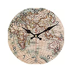 Huzzg Clocks for Bedrooms Battery Fashion Vintage World Map Wall Clock Silent Living Study Kitchen Bath Room Home Wall Decoration Art Watches Large Clock No Sound,Black,14 Inch (34 cm)