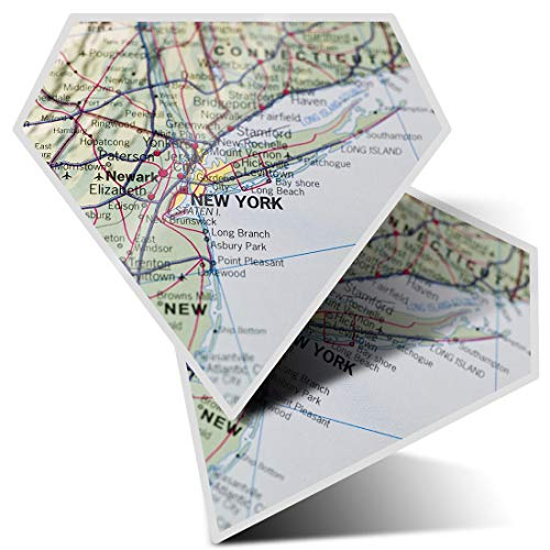 Awesome 2 x Diamond Stickers 7.5 cm - New York Map America USA NYC Fun Decals for Laptops,Tablets,Luggage,Scrap Booking,Fridges,Cool Gift #8238