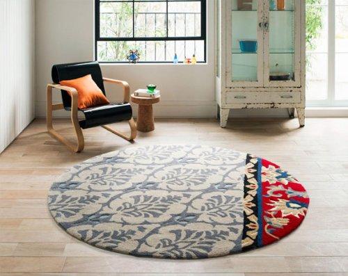 北欧 ラグ カーペット 約150×150cm 円形 アンナラグ おしゃれ かわいい フック 床暖房 ホットカーペット対応 モダン スミノエ グレーの写真