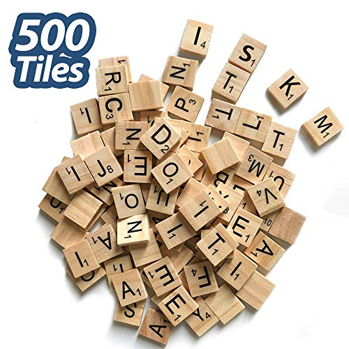 500 Pcs Wood Scrabble Tiles Scrabble Letters 5 Complete Sets of Wood Tiles - Perfect for Crafts, Letter Tiles, Spelling by Clever Delights