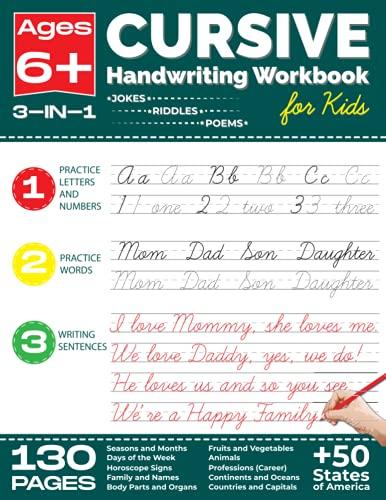 Cursive Handwriting Workbook for Kids: 3-in-1 Cursive Writing Practice Workbook for Kids Ages 6+