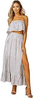 Listicle Women's Striped Woven Top and Skirt Set