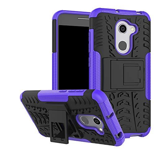 LFDZ Alcatel A3 Tasche, Hülle Abdeckung Cover schutzhülle Tough Strong Rugged Shock Proof Heavy Duty Hülle Für Alcatel A3 Smartphone (mit 4in1 Geschenk verpackt),Violett