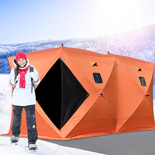Happybuy Ice Fishing Shelter 2 3 4 8 Person Pop-up Ice Fishing Shelter Waterproof Portable Ice Tent...