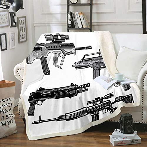 Guns Fleece Throw Blanket Firearms Ammunition Sherpa Blanket for Kids Boys Teens Submachine Gun Sniper Rifle Plush Blanket War Theme Fuzzy Blanket for Sofa Bed Couch,90'x90' Black White