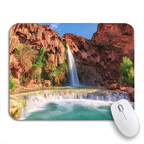 Adowyee Gaming Mouse Pad Blue Havasu Falls Waterfalls in The Grand Canyon Arizona 9.5'x7.9' Nonslip Rubber Backing Computer Mousepad for Notebooks Mouse Mats