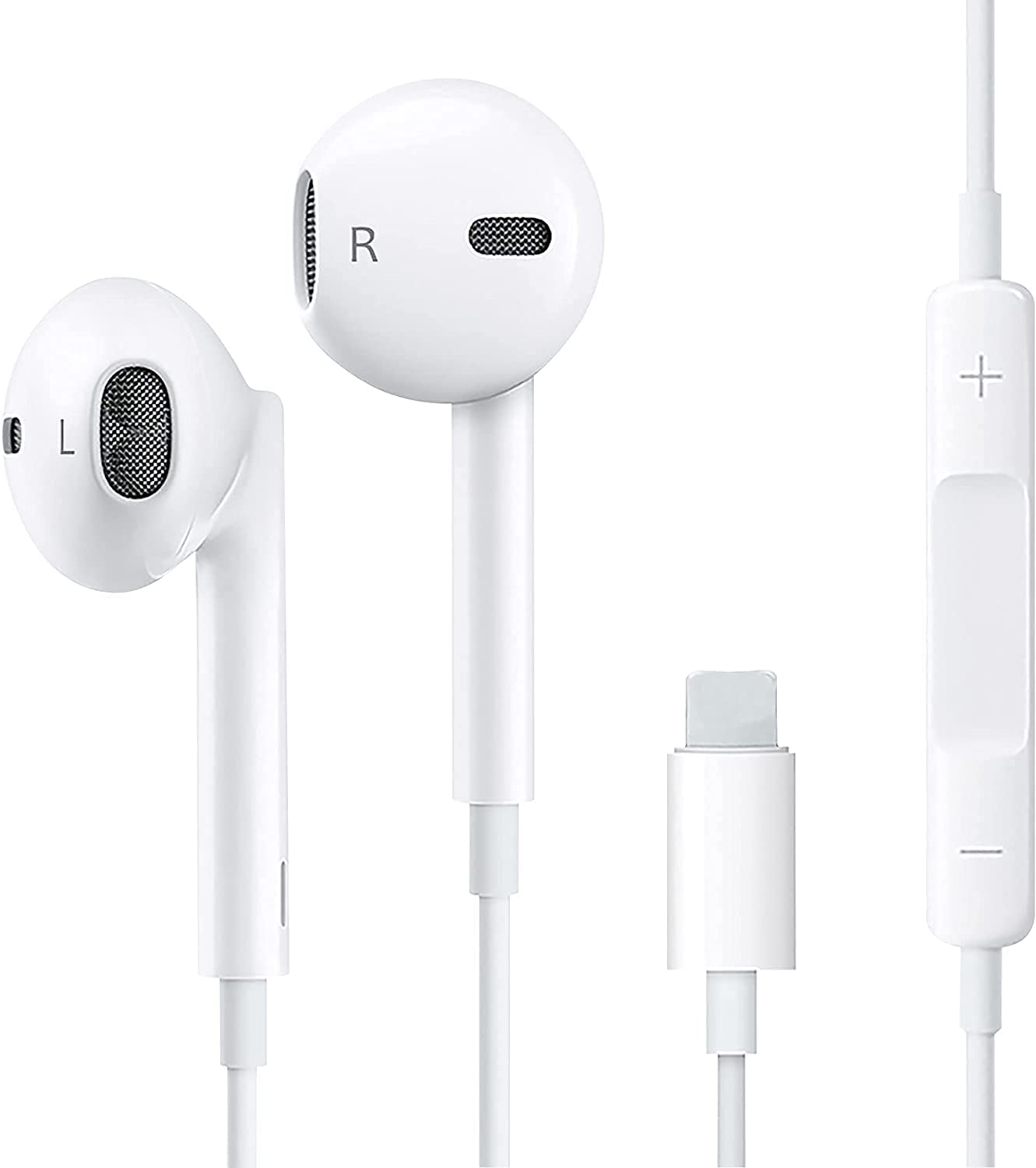 Lighting Connector Wired Earphone in-Ear Earbuds Noise Reduction Headphone, Compatible with Apple iPhone 13/12/11 Pro X/XS Max/XR/X/8/7 Plug and Play
