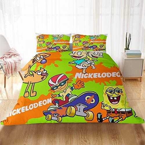 CQLXZ Spongebob-Juego de cama infantil con impresión 3D, diseño de Bob Esponja, funda de edredón, diseño de dibujos animados para niños y niñas (220 x 260 cm)