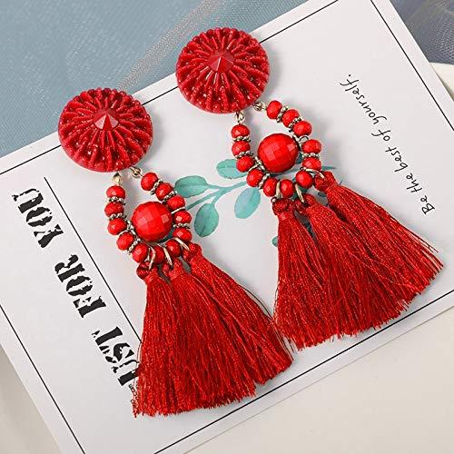 JINSUO La Nueva joyería de Moda Borla Pendientes for Las Mujeres de algodón Tela de Seda Largo de la Franja Gota cuelga los Pendientes (Metal Color : Antique Copper Plated)