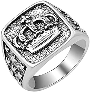YOFEEL Men Women Unique Simple Crown silver Ring Stainless Steel Retro Jewelry