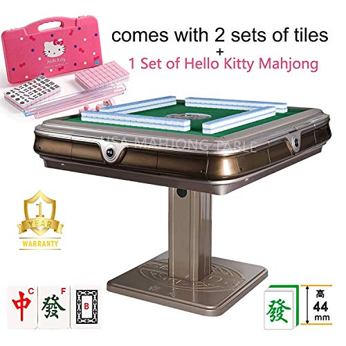 144Tiles 44mm Unfolding Automatic Mahjong Table with 4 Drawers - Chinese/Philippine Style w 2 Sets of Numbered Tiles (Blue & Green) & 1 Hello Kitty Mahjong Set One Year Warranty