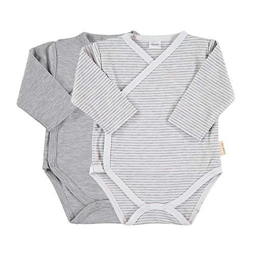 Petit Oh! - Pack de 2 Bodies Cruzados bebé algodón Pima, Talla 3-6 Meses