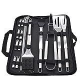 LncBoc Set di 20 utensili per barbecue in acciaio inox, accessori per barbecue in borsa pe...