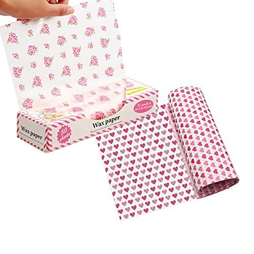 100 arkuszy papieru woskowego do żywności, papieru piknikowego, wosku cukierkowego do pieczenia olejoodporny papier do pakowania, używany do hamburgerów, hot dogów, bułek z kurczaka i innych opakowań żywności, miłości serca i małych wzorów róż