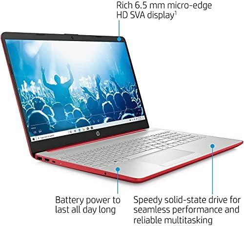 "2021 Newest HP Pavilion 15.6"" HD Laptop, Intel Quad-core Pentium Processor, 8GB RAM, 256GB SSD, Intel UHD Graphics, HD Webcam, Bluetooth, HDMI, USB Type-C, Scarlet Red, Windows 10 + Oydisen Cloth WeeklyReviewer"