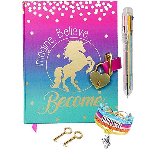 Diary for Girls with Upgraded Lock and Keys - Unicorn Journal Includes Adjustable Bracelet and Multi-Colored Push-Pen | Enjoy Both Lined and Blank Notebook Pages for Secret Writing and Drawing