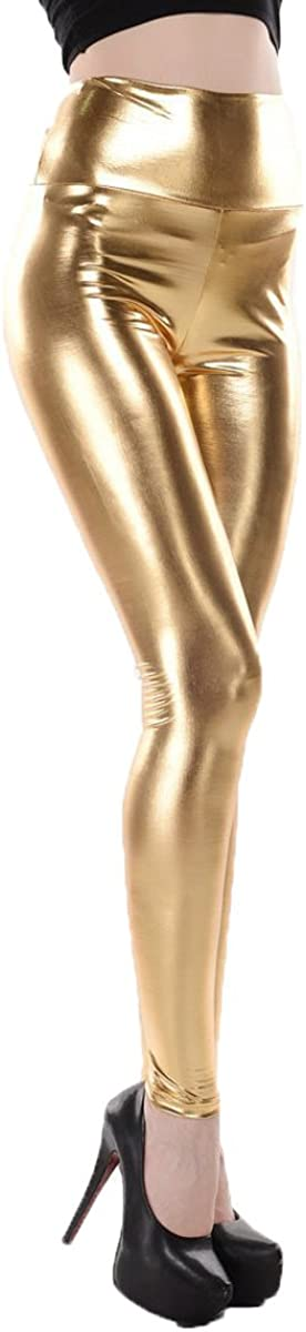 ellazhu Women Metallic Faux Leather Leggings Waisted Max 86% OFF High Pants Attention brand