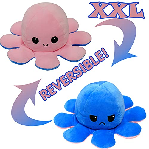 KUNSTIFY XXL Plüschtier Oktopus 40cm Stimmungs Oktopus Kuscheltier wenden Octopus Plüschtier für Mädchen, für Kinder die Ihre Laune ausdrücken wollen Geschenk für Freundin Pink Blau