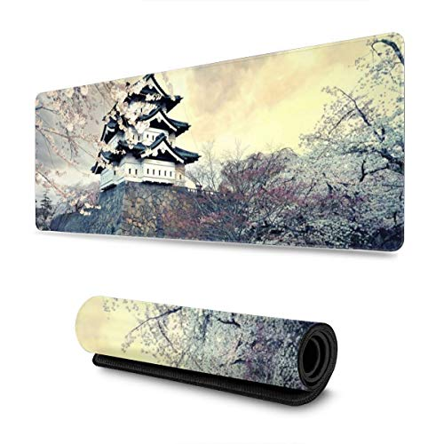 City Sakura Japan Spring Landscape Gaming Mouse Pad XL, Extended Large Mouse Mat Desk Pad, Stitched Edges Mousepad, Long Non-Slip Rubber Base Mice Pad, 31.5 X 11.8 Inch