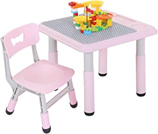LIANGJUN Children s Table Stool Toddler Tables Chairs Play Toy Building Block Build Table Set Indoor Activity Adjustable Height  Colours  Color Pink  Size