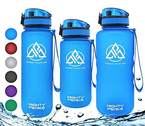 MIGHTY PEAKS Tritan Sport-Trinkflasche 1,5 Liter | BPA frei | 1500ml 1,5l 1.5l 1.5 Liter | Wasserflasche 1,5 Liter | Blau, Blue | Sportflasche für Fahrrad, Fitness, Fussball, Kinder, Sport