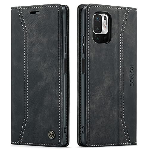 KONEE Hülle Kompatibel mit Xiaomi Redmi Note 10 5G / Poco M3 Pro 5G, Lederhülle PU Leder Flip Tasche Klappbar Handyhülle mit [Kartenfächer], Schutzhülle für Xiaomi Poco M3 Pro 5G - Schwarz