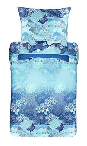 Bassetti 9311773 Madama Butterfly B1 - Juego de Cama (Funda nórdica de 155 x 220 cm y Funda de Almohada de 80 x 80 cm), diseño de Mariposas, Color Azul