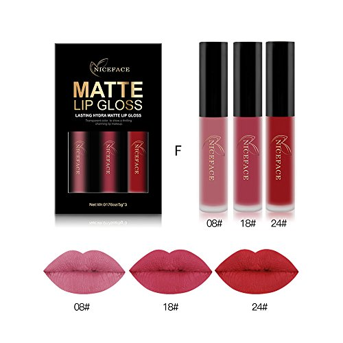 Coosa 3PCS of 3 Colors Madly MATTE Lipstick Non-stick Cup Waterproof Lipgloss (Set F)