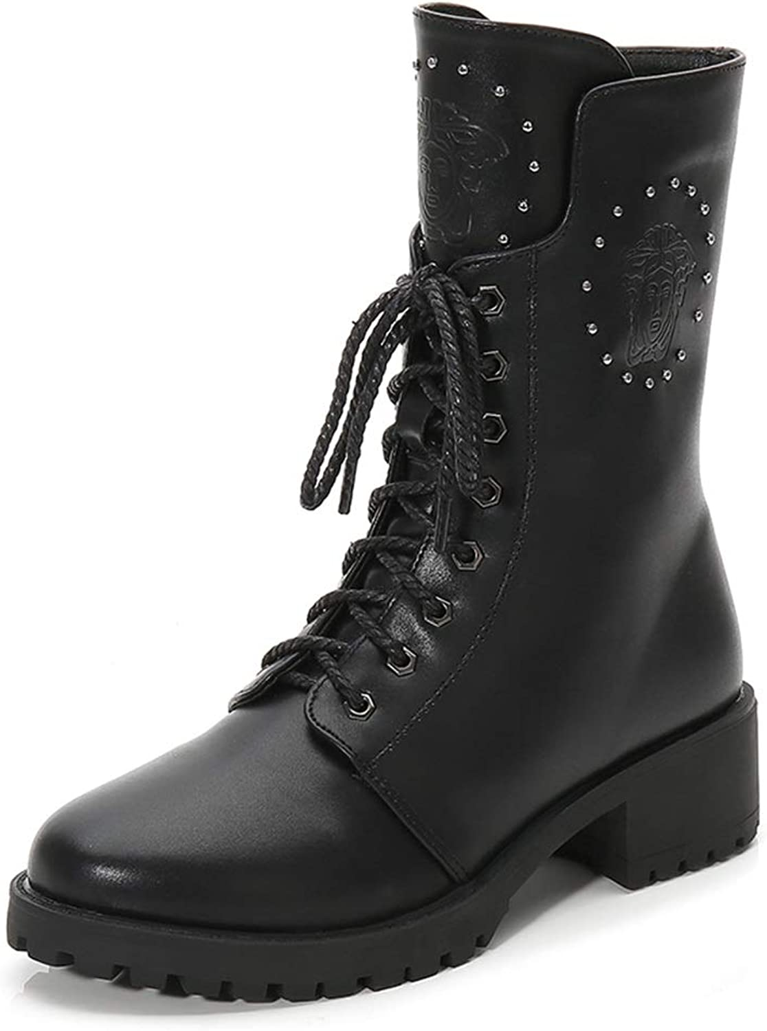 Ladies Women Calf Biker Boots Lace Up Casual Boots Autumn and Winter New Locomotive Martin Boots with Thick with Fashion Rivets in The Boots Plus Velvet Size